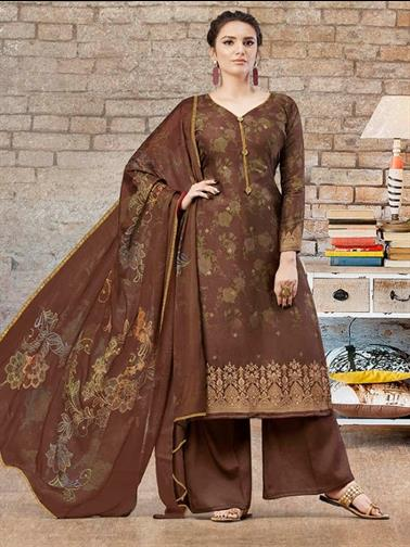 BROWN  Unstitched Dress Material FLORENCE 775